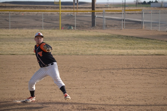 During the Tigers' game against Yuma, junior Tucker Baker relieves starting pitcher Trevor Dye. The Tigers lost this game 6-1.